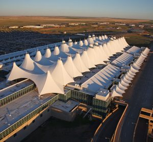 Aerial shot of Jeppesen Terminal at Denver International Airport