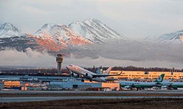 Plane departing from Ted Stevens Anchorage International Airport