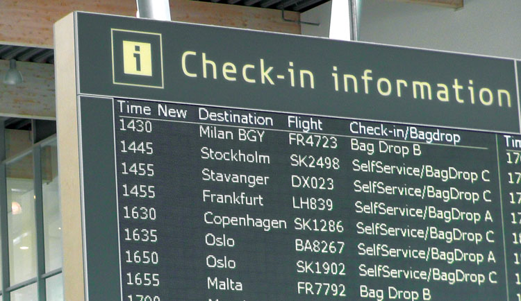 Billund airport information board