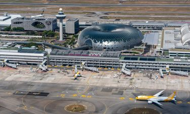 View of Singapore Changi Airport airfield and terminal