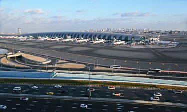 View of Dubai International Airport airfield and terminal