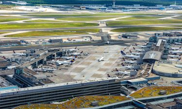 Arial view of Frankfurt Airport airfield