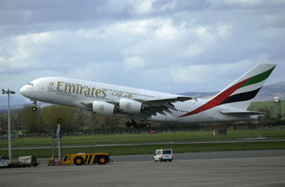 Airbus A380 lands at Glasgow Airport
