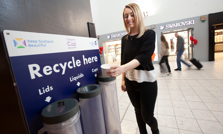 Single-use coffee cup recycling stations introduced at Glasgow Airport