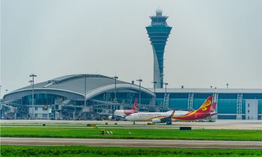 View of Guangzhou Baiyun International Airport's runway