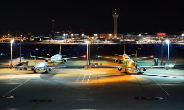 Planes on the runway at Haneda Airport