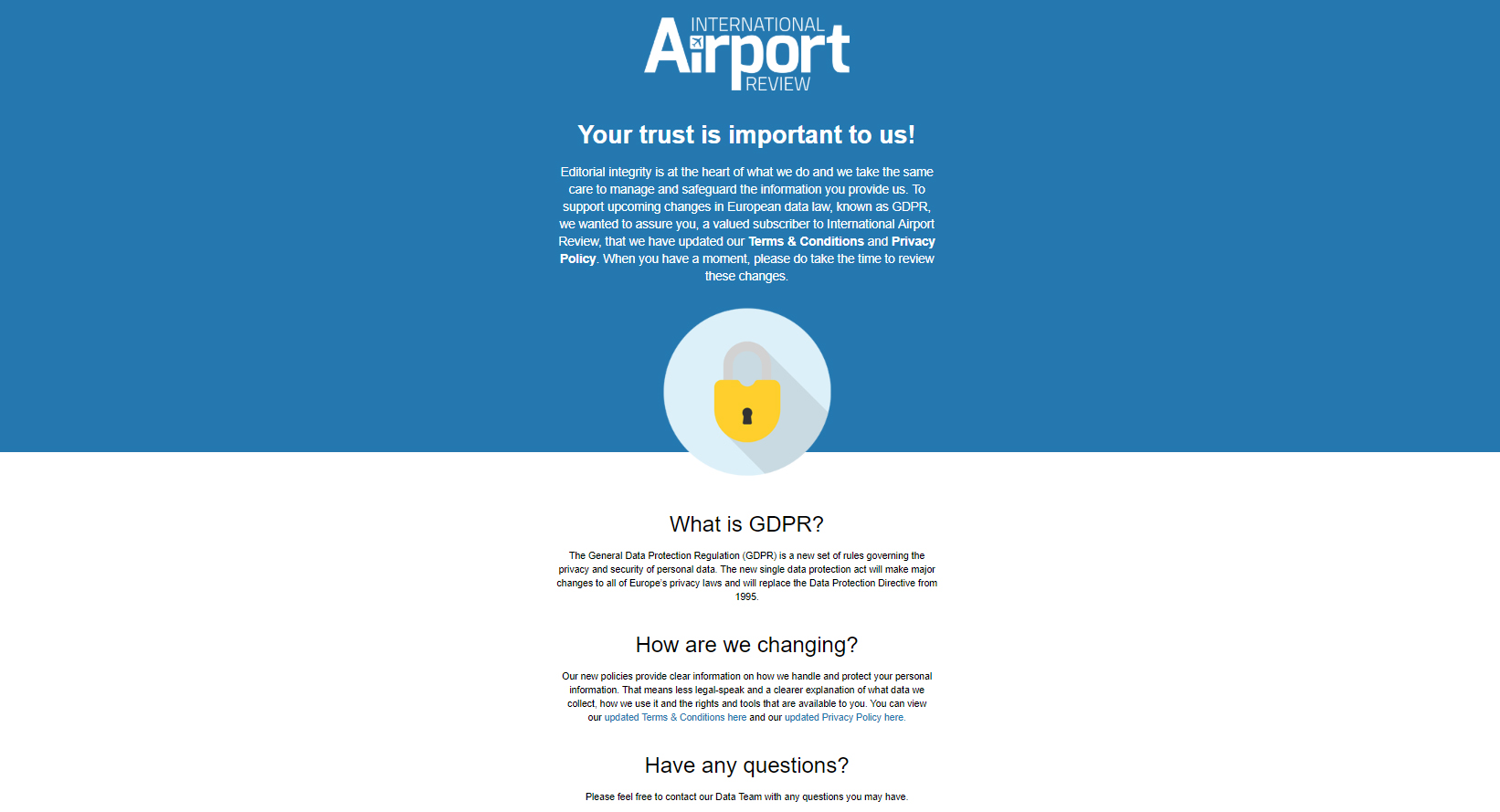 International Airport Review GDPR email