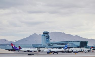 Airplanes on the runway at McCarran International Airport
