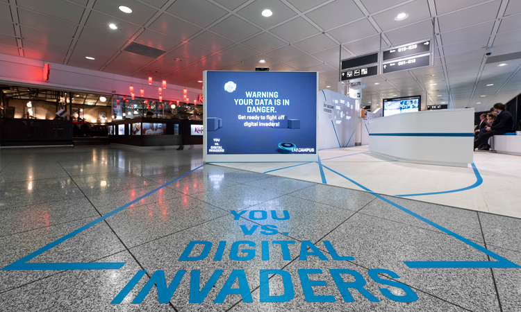 Interactive augmented reality wall at Munich Airport