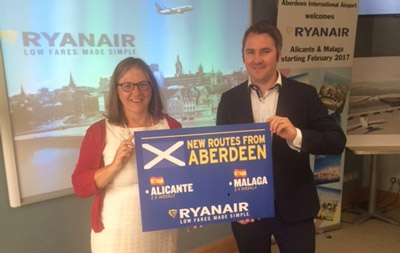 Ryanair returns to Aberdeen International Airport with two new routes