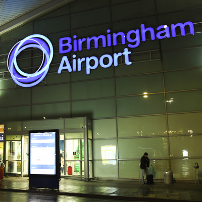 Birmingham Airport entrance at night