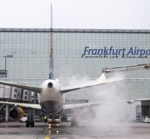 Winter operations: de-icing a plane at Frankfurt International Airport
