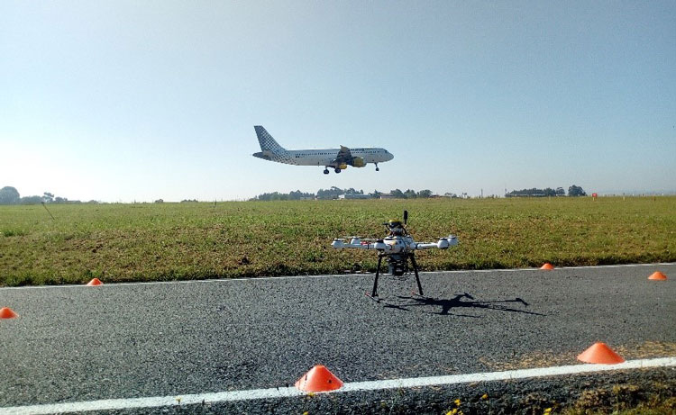 Drone being used at  Coruña Airport