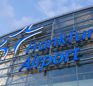 Frankfurt Airport sign on terminal building