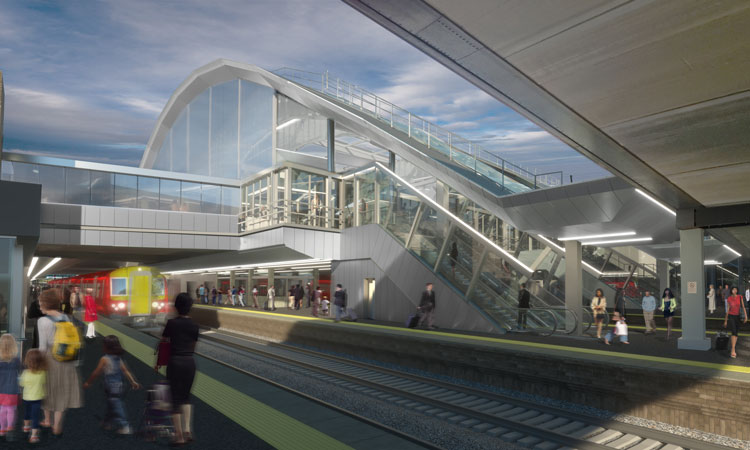 A render of the new station exterior at Gatwick